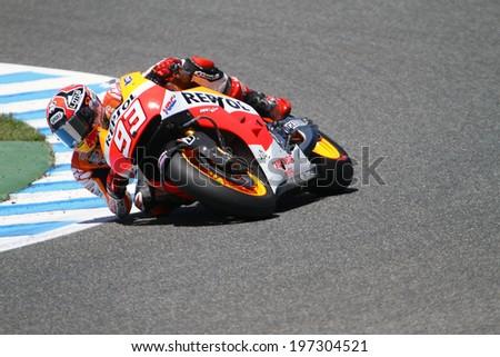 JEREZ - SPAIN, MAY 5: Spanish Honda rider Marc Marquez at 2014 Bwin MotoGP of Spain at Jerez circuit on May 5 , 2014 - stock photo