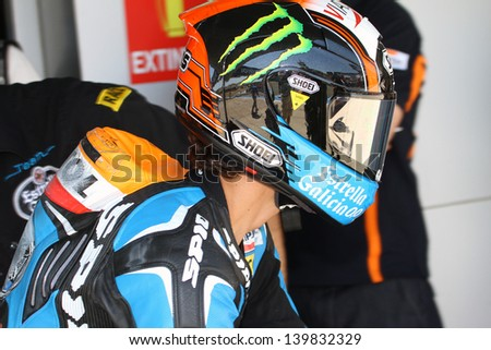 JEREZ - SPAIN, MAY 4: Spanish KTM Moto3 rider Alex Rins during practice at 2013 Bwin MotoGP of Spain at Jerez circuit on May 4, 2013 - stock photo