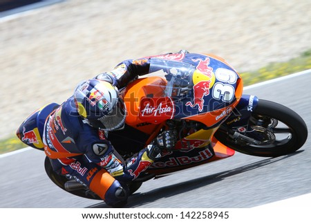 JEREZ - SPAIN, MAY 3: Spanish KTM rider Luis Salom during practice at 2013 Bwin MotoGP of Spain at Jerez circuit on May 3, 2013
