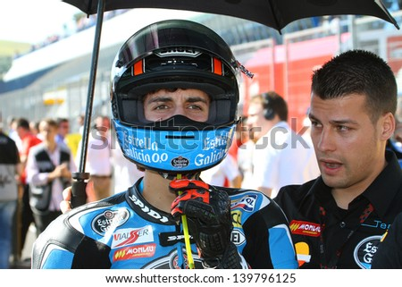 JEREZ - SPAIN, MAY 5: Spanish Moto3 KTM rider Alex Rins on the grid at 2013 Bwin MotoGP of Spain at Jerez circuit on May 5, 2013