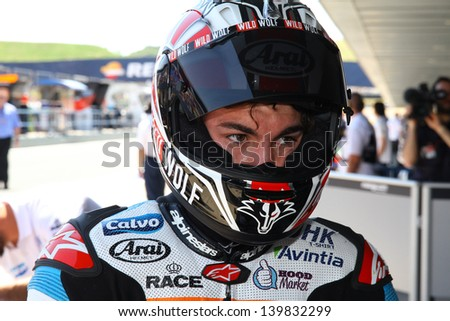 JEREZ - SPAIN, MAY 4: Spanish Moto3 KTM rider Maverick Vinales during practice at 2013 Bwin MotoGP of Spain at Jerez circuit on May 4, 2013
