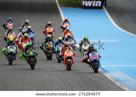 JEREZ - SPAIN, MAY 3: Start of the MotoGP race at 2015 Bwin MotoGP of Spain at Jerez circuit on May 3, 2015 - stock photo