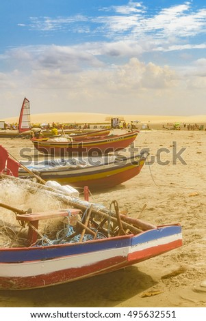 JERICOACOARA, BRAZIL, DECEMBER - 2015 - Small boats at sand in the most famous beach of Jericoacoara in Brazil