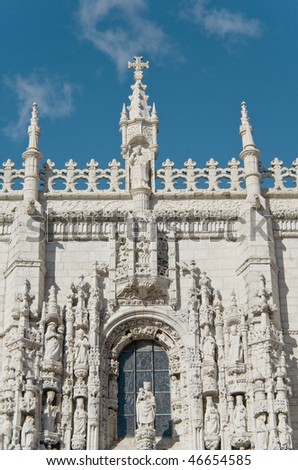 Jeronimous Monastery, Lisbon, Portugal, UNESCO World Heritage, Manueline style, architectural details of South portal - stock photo
