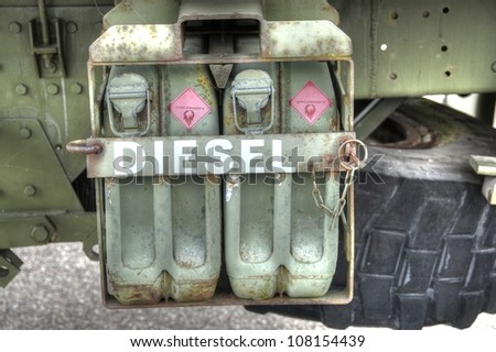 Jerry cans. Cans with diesel. - stock photo