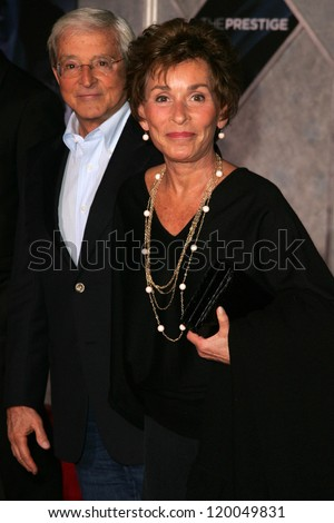 """Jerry Sheindlin and Judge Judy Sheindlin at the World Premiere of """"The Prestige"""". El Capitan Theater, Hollywood, CA. 10-17-06 - stock photo"""