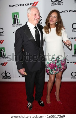 Jerry Weintraub, Julia Roberts at the 17th Annual Hollywood Film Awards Arrivals, Beverly Hilton Hotel, Beverly Hills, CA 10-21-13 - stock photo