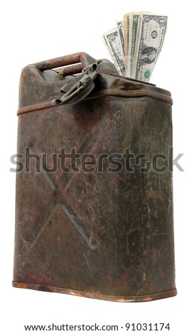 jerrycan with dollar notes - stock photo