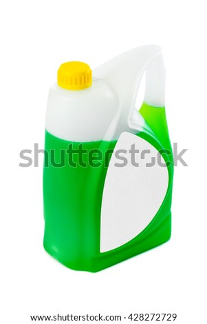Jerrycan with green liquid and blank label isolated on white background - stock photo