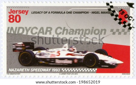 """JERSEY - CIRCA 2013: A stamp printed in Jersey dedicated Nigel Mansell, First Indy Car Championship 1993, Nazareth Speedway, """"Legacy of a Formula One champion - Nigel Mansell"""", circa 2013 - stock photo"""
