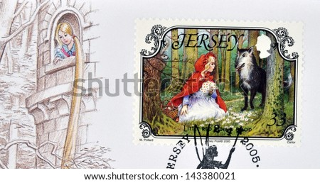 JERSEY - CIRCA 2005: A stamp printed in Jersey shows Little Red Riding Hood and the Wolf, circa 2005