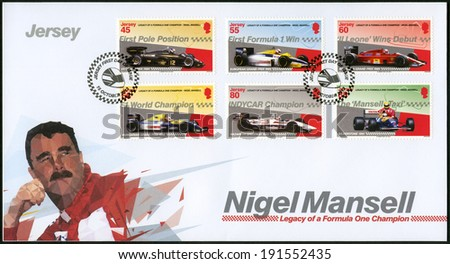 JERSEY - CIRCA 2013: A stamp printed in Jersey shows Nigel Mansell, circa 2013 - stock photo