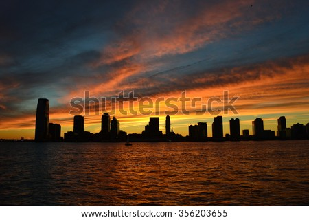 jersey city at dusk - stock photo