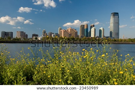 jersey city, flower and lake in foreground, Goldman Sachs Tower first right, photo taken from liberty state park - stock photo