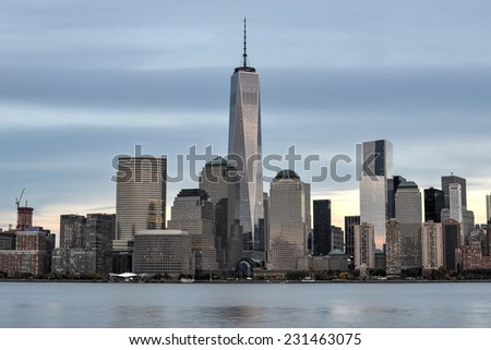 JERSEY CITY, NEW JERSEY - NOVEMBER 8, 2014: New York City Manhattan skyline over Hudson River viewed from New Jersey - stock photo