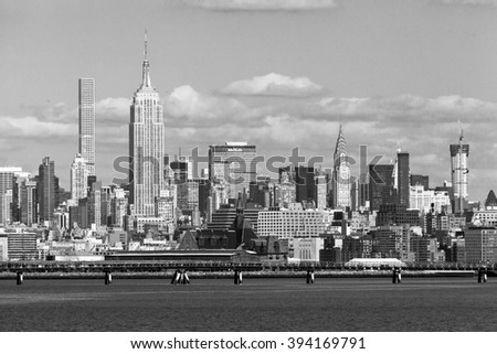 JERSEY CITY, NJ - MARCH 6: A view of Midtown Manhattan, featuring the Empire State Building and 432 Park, as seen from Liberty State Park on March 6, 2016.