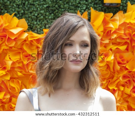 Jersey City, NJ USA - June 4, 2016: Rose Byrne attends 9th annual Veuve Clicquot Polo Classic at Liberty State Park - stock photo