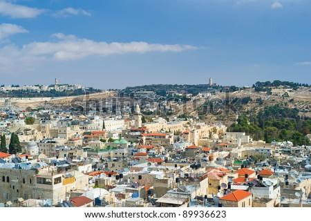 Jerusalem, aerial view - stock photo