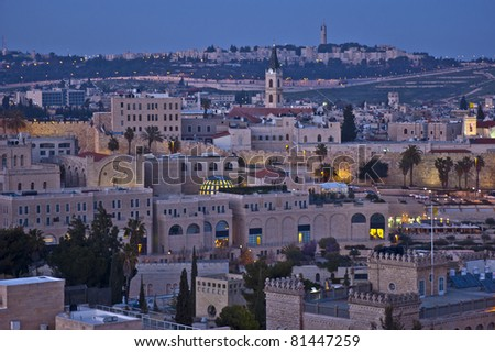 Jerusalem at sunset - stock photo