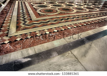JERUSALEM- CIRCA 2013: The tiled decorated floor at the Katholikon in the Church of the Holy Sepulchre in, Jerusalem, Israel.