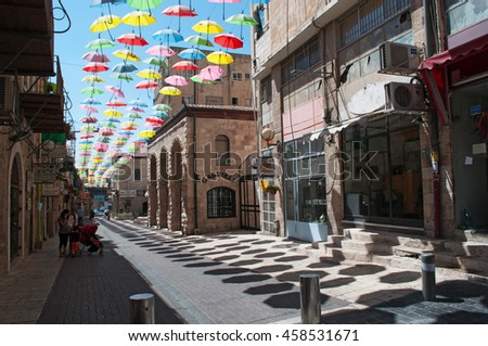 Jerusalem: colorful umbrellas on September 4, 2015. The Umbrellas Street Project on Yoel Moshe Solomon Street was promoted by Eden The Jerusalem Center Development Corporation for the municipality