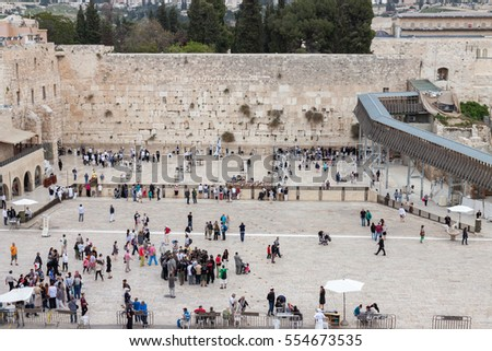 Jerusalem/ Israel - april, 12, 2014: Many people near wailing wall in Jerusalem