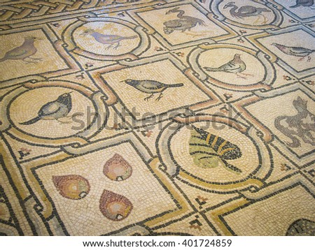 JERUSALEM, ISRAEL - CIRCA APRIL 2015: Ancient mosaic in Convent of the Ascension on Mount of Olives - stock photo