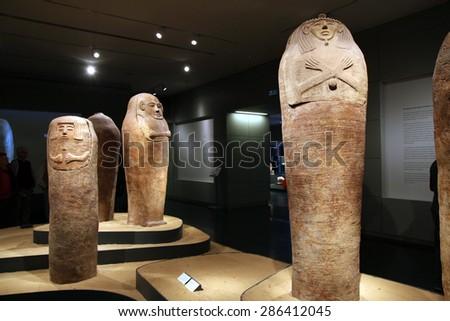 JERUSALEM, ISRAEL - DECEMBER, 14, 2014: Sarcophagus in the Museum of Israel in Jerusalem - stock photo