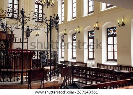 JERUSALEM, ISRAEL - FEBRUARY 21, 2014: 19th century synagogue Ohel Yitzchak in the Muslim Quarter of the Old City of Jerusalem - stock photo