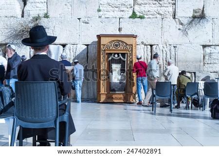 Jerusalem , Israel - January 22, 2015 : Beautiful photo at the Wailing Wall in the Old City of Jerusalem. Praying at the Wailing Wall. Israel. - stock photo