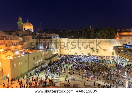 Jerusalem, Israel - July 01, 2016: Shabbat prayer at the Western Wall in Jerusalem