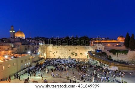 Jerusalem, Israel - July 01, 2016: Shabbat prayer near the Western Wall in Jerusalem - stock photo