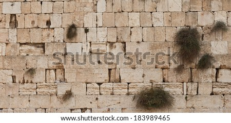 Jerusalem, Israel - July 18, 2010: Stones of the western wall, also known as the wailing wall, a holy place to pray and wish for orthodox jews. - stock photo