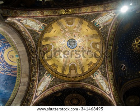 JERUSALEM, ISRAEL - JULY 13, 2015: The mosaic ceiling in The Church of All Nations (Basilica of the Agony) designed by Pietro D'Achiardi (1922 - 1924).