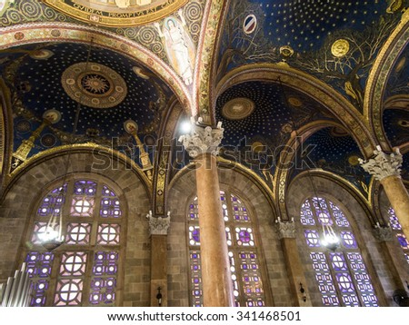 JERUSALEM, ISRAEL - JULY 13, 2015: The mosaic ceiling in The Church of All Nations (Basilica of the Agony) designed by Pietro D'Achiardi (1922 - 1924). - stock photo