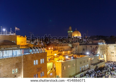 Jerusalem, Israel - July 01, 2016: Top of mosque of Al-aqsa (Dome of the Rock) in Jerusalem at night - stock photo