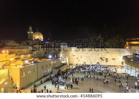 Jerusalem, Israel - July 01, 2016: Western Wall time after Sabbath prayers in Jerusalem - stock photo