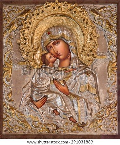 JERUSALEM, ISRAEL - MARCH 5, 2015: The icon of Madonna in Russian orthodox Church of Holy Mary of Magdalene by unknown artist on the Mount of Olives. - stock photo