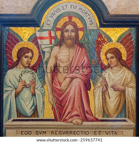 JERUSALEM, ISRAEL - MARCH 5, 2015: The mosaic of resurrection of Jesus in st. George anglicans church from end of 19. cent. - stock photo