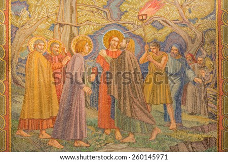 JERUSALEM, ISRAEL - MARCH 3, 2015: The mosaic of the betrayal of Jesus in Gethsemane garden in The Church of All Nations (Basilica of the Agony) by Pietro D'Achiardi (1922 - 1924). - stock photo