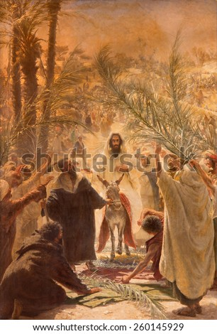 JERUSALEM, ISRAEL - MARCH 3, 2015: The paint of entry of Jesus in Jerusalem (Palm Sanday). Paint in Evangelical Lutheran Church of Ascension by Felix Tafsart (1896). - stock photo