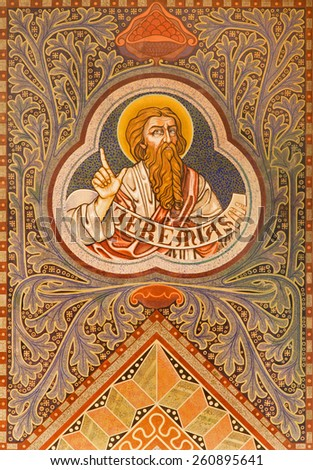 JERUSALEM, ISRAEL - MARCH 3, 2015: The prophet Jeremiah.  Paint on the ceiling r of Evangelical Lutheran Church of Ascension designed by H. Schaper and F. Pfannschmidt (1988-1991). - stock photo