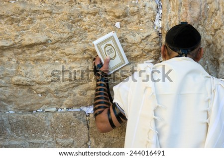 JERUSALEM, ISRAEL - OCT 06, 2014: A jewish man with the torah in his hand and tefillin around his arm is praying against the western wall in the old city of Jerusalem