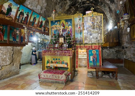 JERUSALEM, ISRAEL - 09 OCT, 2014: The entrance of the tomb of the Virgin Mary, the mother of Jesus at the foot of mount of olives in Jerusalem - stock photo