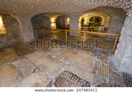 JERUSALEM, ISRAEL - OCT 07, 2014: The lithostrotos pavement on the Via Dolorosa in the old city in Jerusalem is alleged to be the place where Pilate brought Jesus to stand before the people - stock photo