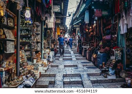 Jerusalem, Israel - October 22, 2015. People walks on Arab baazar located inside the walls of the Old City of Jerusalem - stock photo