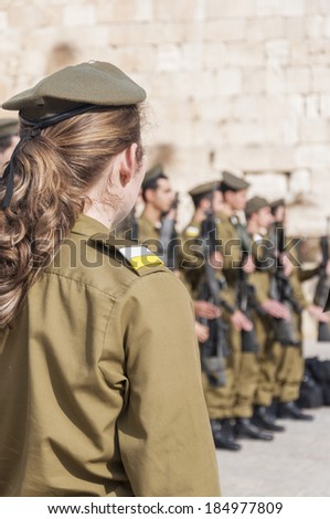Jerusalem, Israel-Palestine - June 21, 2011: Participants in the Israeli Army's Marva program, gather in front of the Western Wall for their graduation ceremony. - stock photo