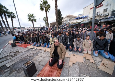 Jerusalem - JANUARY 02: Demonstration against war in Gaza strip on January 02, 2009 at Old City, Jerusalem, Israel. - stock photo