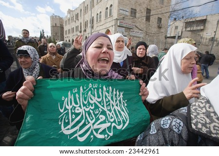 Jerusalem - JANUARY 02: Demonstration against war in Gaza strip on January 02, 2009 at Old City, Jerusalem, Israel