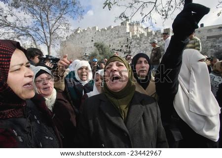 Jerusalem - JANUARY 02: Demonstration against war in Gaza strip on January 02, 2009 at Old City, Jerusalem, Israel - stock photo